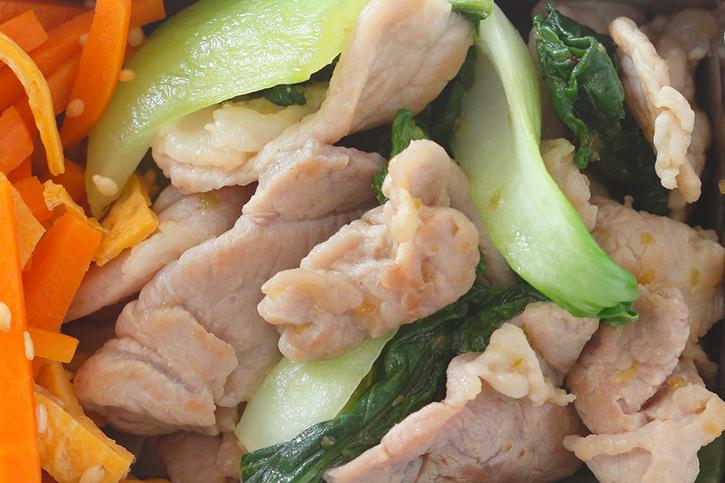 豚肉と青梗菜のゆずこしょう炒め