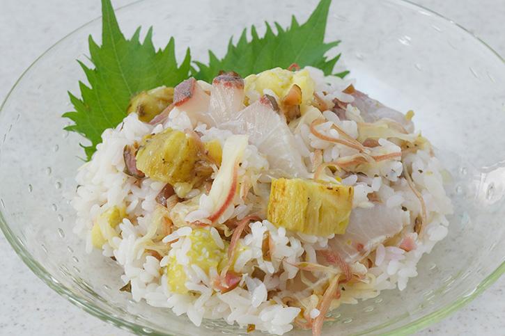 炙り茄子とかんぱちの混ぜ寿司