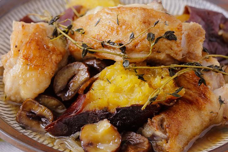 鶏と焼き芋、栗のブレゼ